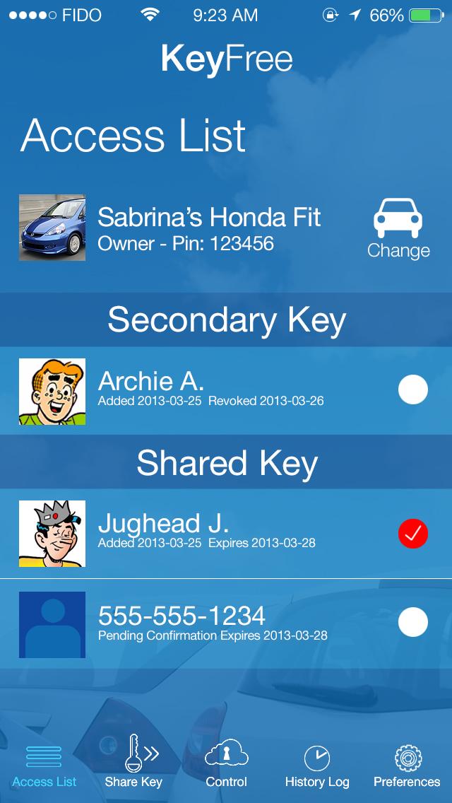 Keyfree - Access list