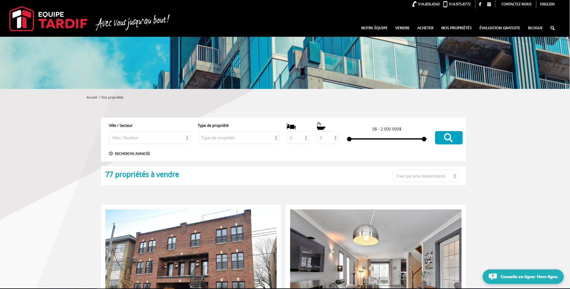 Équipe Tardif - Property search